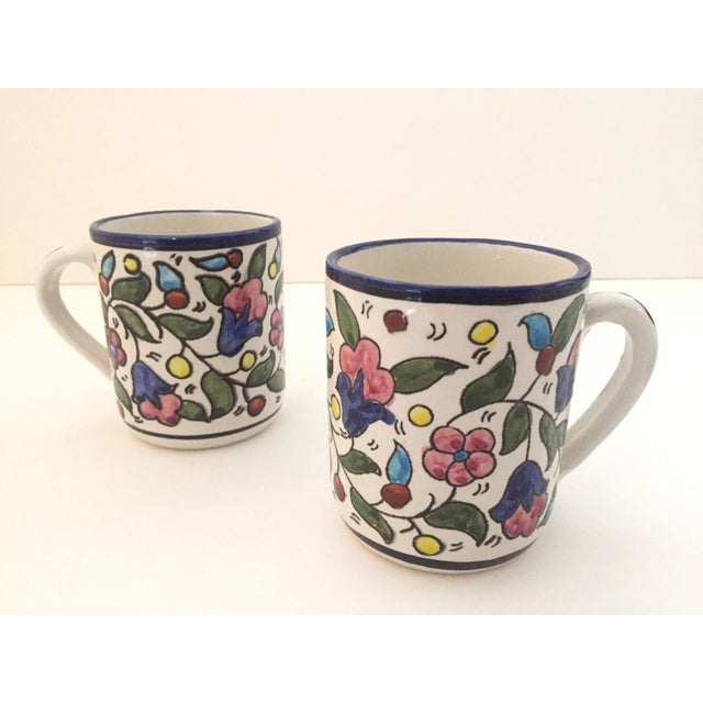 Vintage Jerusalem Pottery Armenian Floral Ceramic Hand Painted Mugs - a Pair For Sale - Image 9 of 9
