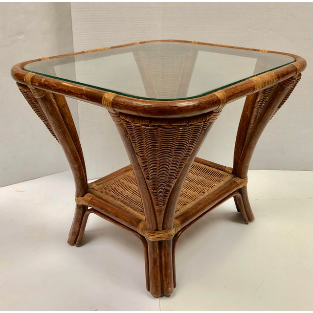 1940s Rattan and Wicker Side Table For Sale - Image 12 of 12