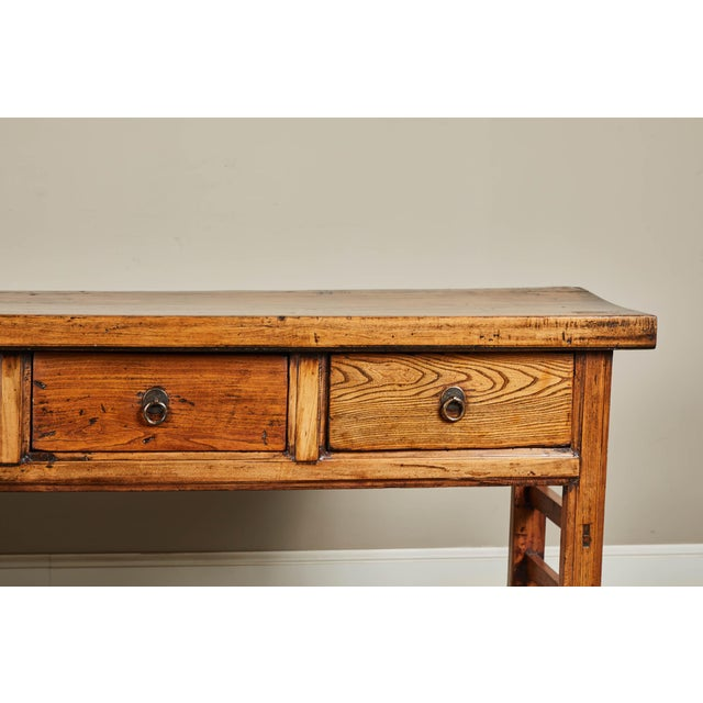 Elm 19th C. Chinese Elm Four Drawer Altar Table For Sale - Image 7 of 10