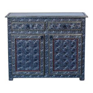 Moroccan Silver 2-Drawer 2-Door Cabinet For Sale