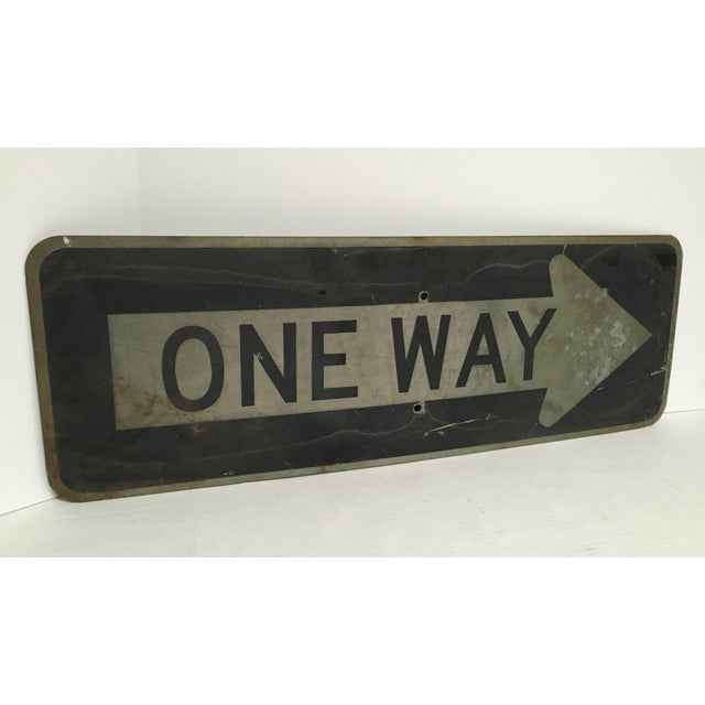 Vintage 'One Way' Arrow Road Sign - Image 2 of 5