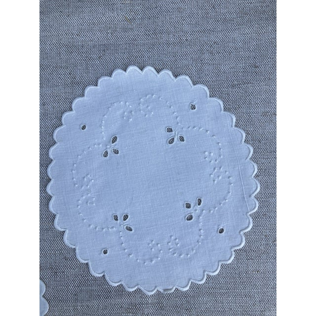 Shabby Chic 1960s Mid Century White Linen Cocktail Napkins - Set of 12 For Sale - Image 3 of 4