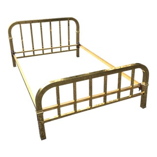 1940s Hollywood Regency Full Size Brass Bed For Sale
