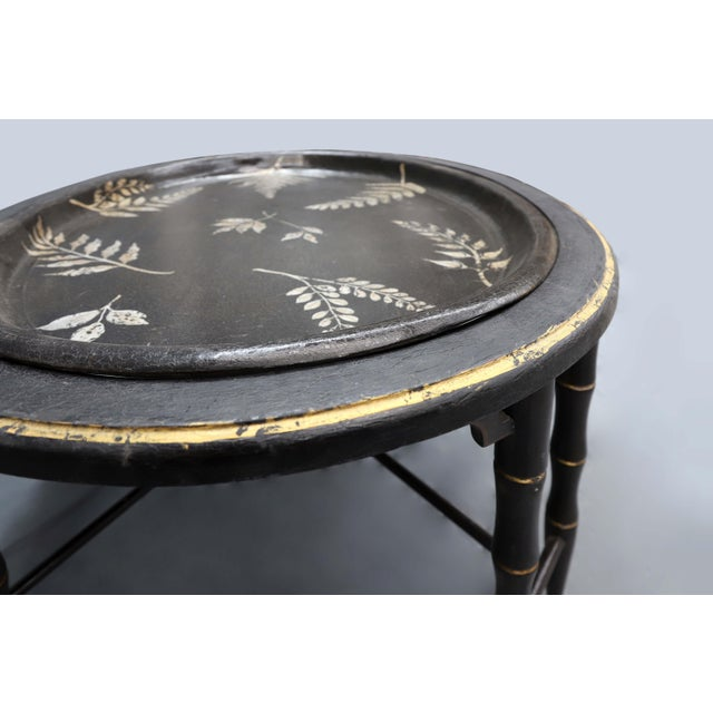 Fern Leave Painted Design Faux Bamboo Legged Tray Table For Sale - Image 4 of 7