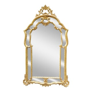 Antique Italian Rococo Style Giltwood Mirror For Sale