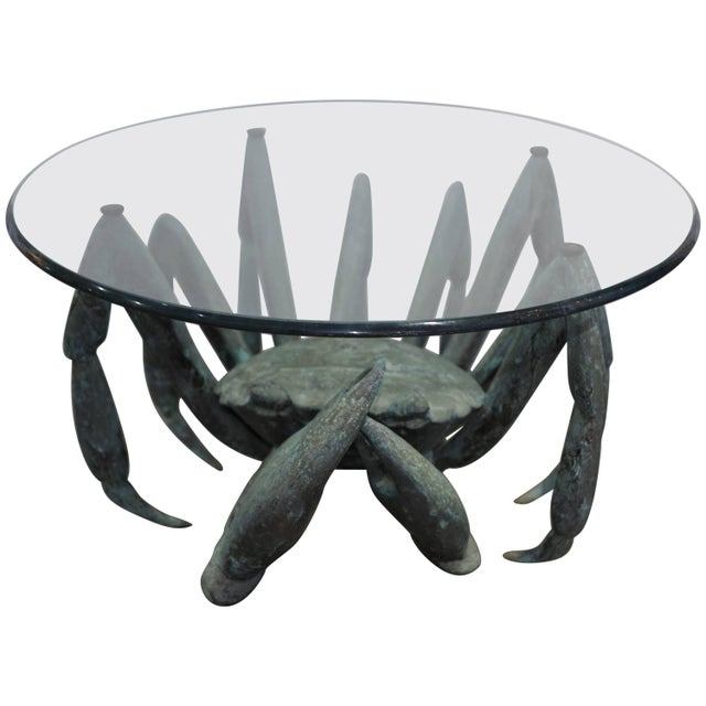 Bronze Crab-Form Sculpture Cocktail Table With Round Glass Top For Sale - Image 9 of 9