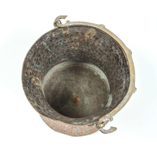 Copper Large 19th Century Persian Copper Bucket With Handle For Sale - Image 8 of 9