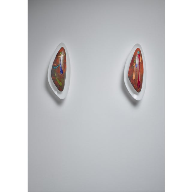Pair Italian Wall Appliques With Figurative Enamel For Sale - Image 6 of 6