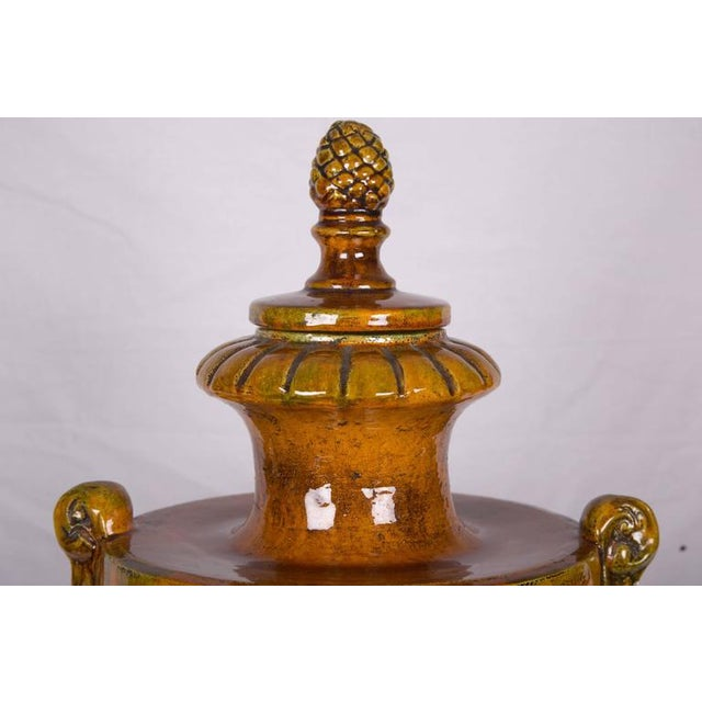 Pair of Italian Glazed Terra Cotta Lidded Urns, Late 20th Century For Sale - Image 4 of 11