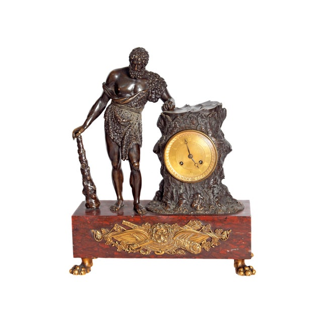 "French Empire ""Farnese Hercules"" Mantel Clock attributed to Claude Galle For Sale - Image 11 of 11"