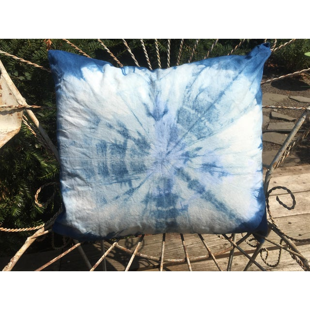 Cotton Boho Chic Indigo Hand Dyed Throw Pillows - a Pair For Sale - Image 7 of 8