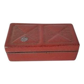 Postmodern Style Jaru of California Red Ceramic Glaze Decorative Box . For Sale