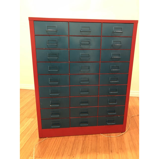 Blue Vintage Metallic Turquoise and Red Steel Stationary Cabinet For Sale - Image 8 of 8