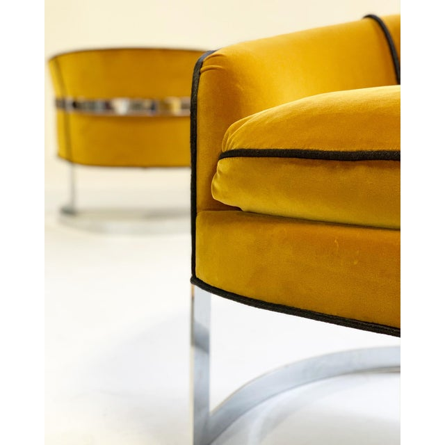 Mid 20th Century Mid Century Vintage Milo Baughman Velvet With Brazilian Cowhide Welting Lounge Chairs - a Pair For Sale - Image 5 of 13
