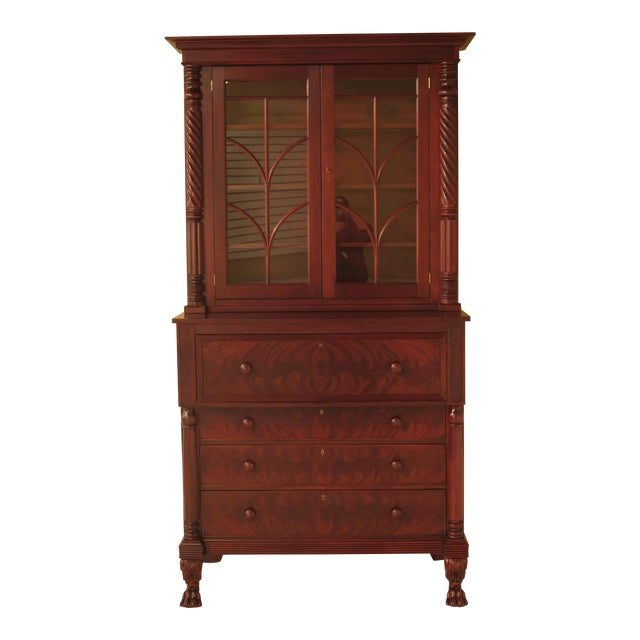 Craftique Empire Mahogany Butler Secretary Desk For Sale