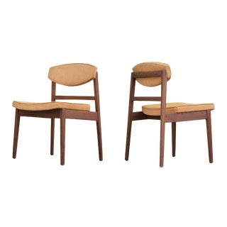 Early George Nelson Foil Label Walnut Dining Chairs, Pair For Sale