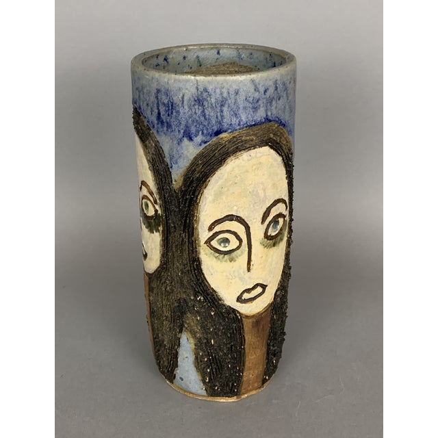 Mid-Century Face Vase, Signed Studio Pottery For Sale - Image 4 of 11