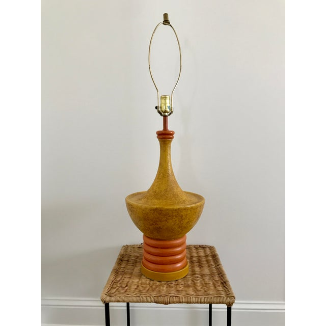 Yellow Retro Mid-Century Yellow and Orange Table Lamp For Sale - Image 8 of 8