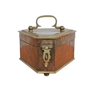Vintage Triangular Brass Bun Foot Box