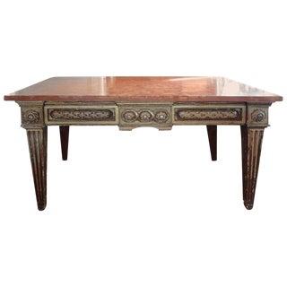 17th Century Italian Marble Top Gilt Wood Console Table