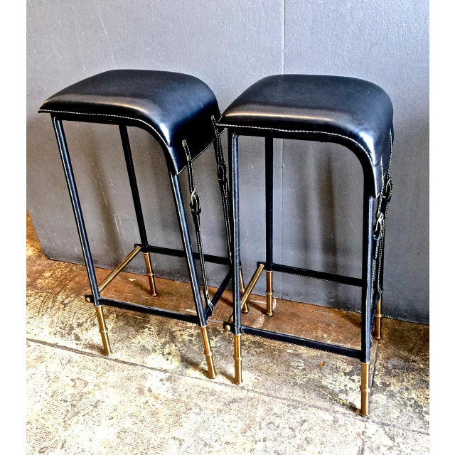 Jacques Adnet Pair of Jacques Adnet Bar Stools, C. 1950s For Sale - Image 4 of 12
