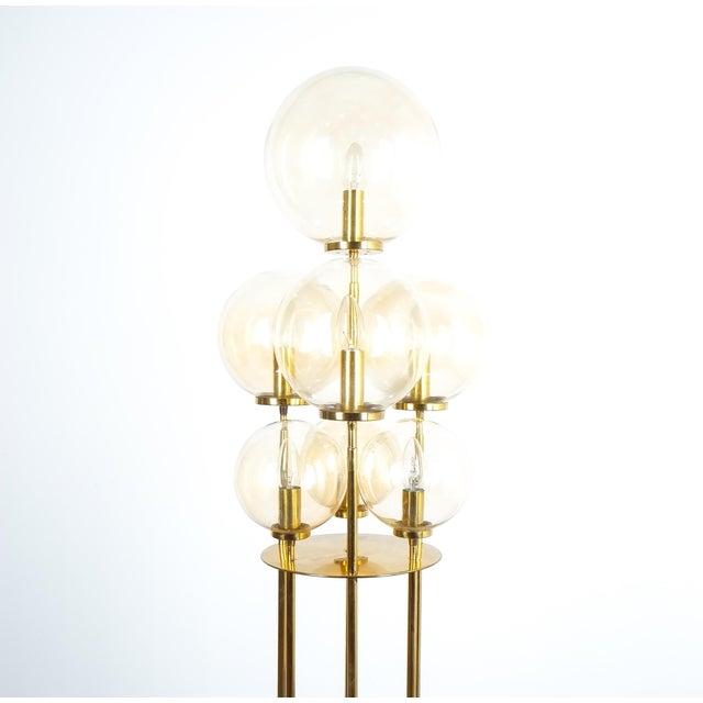 Mid-Century Modern Glashütte Limburg Brass Glass Floor Lamp, Germany 1960 For Sale - Image 3 of 10