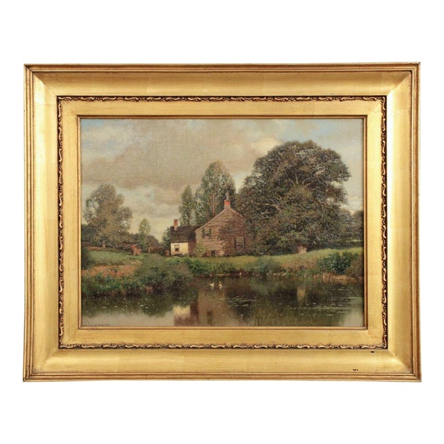 Henry Pember Smith Landscape Painting of Cottage by Lake For Sale