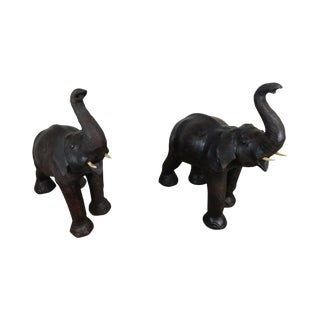 Vintage Hand Crafted Leather Pair Large Elephant Statues For Sale