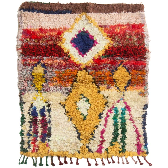 Vintage Midcentury Moroccan Transitional Yellow and Red Fabric Rug - 3′4″ × 4′1″ For Sale