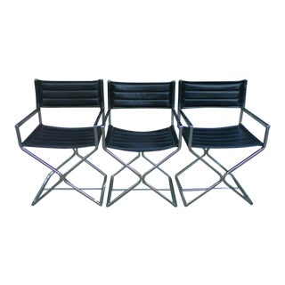 Mid-Century Virtue of California Black Vinyl Side Chairs - Set of 3