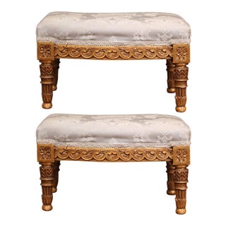 Pair of 19th Century French Louis XVI Carved Giltwood Footstools For Sale