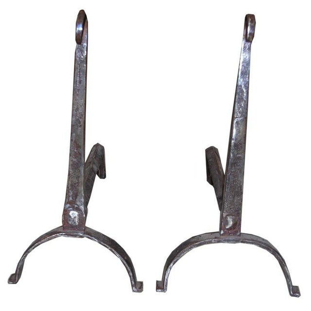 18th Century Scrolled Top Andirons - a Pair For Sale - Image 9 of 9