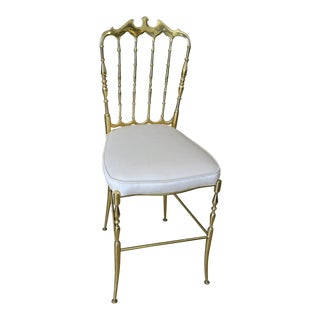 Classic Chiavari Italian Solid Brass Chair For Sale
