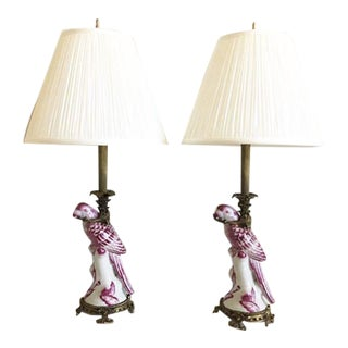 Antique French Parrot Lamps & Shades - a Pair For Sale