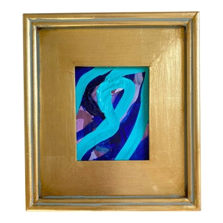 Blue Stripes Mini Painting With Gold Frame For Sale