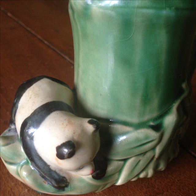 Green Mid-Century Faux Bamboo Ceramic Panda Vase For Sale - Image 8 of 11