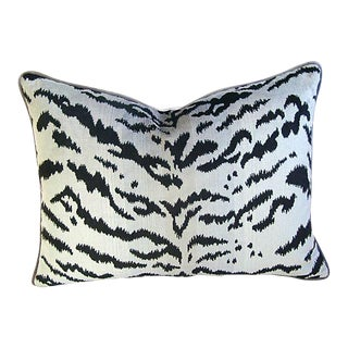 """Scalamandre Le Tigre Tiger Silver & Black Feather/Down Pillow 24"""" X 18"""" For Sale"""