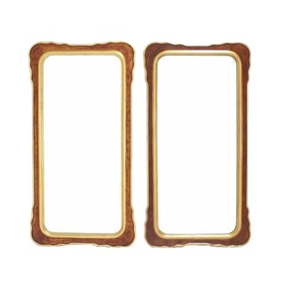 Pair of Burl Wood and Gold Frames Rectangular Mirrors For Sale