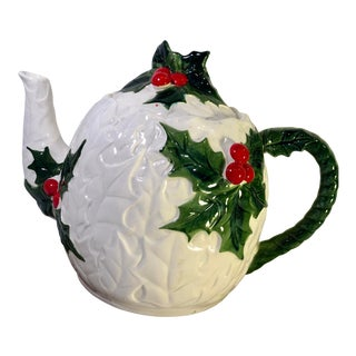 Vintage Lefton Holly Leaves Christmas Tea Pot For Sale