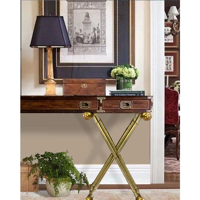 Fantastic Drexel campaign desk with brass effect X-base. Desk is walnut. Legs are resin and gold painted. Excellent...