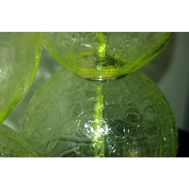 Brass Vintage Murano Glass Ball Table Lamps Lime Green For Sale - Image 7 of 10