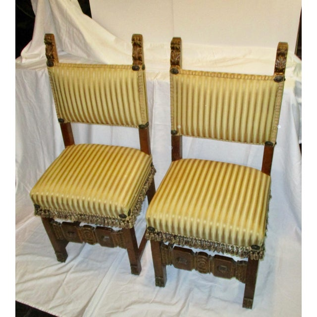 Yellow 17th Century Style Italian Side Chairs - a Pair For Sale - Image 8 of 8