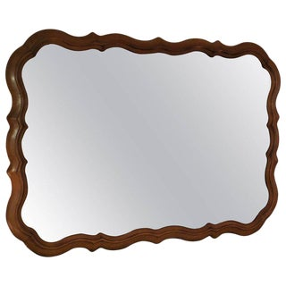 1950s Boho Chic Scalloped Fruitwood Mirror For Sale