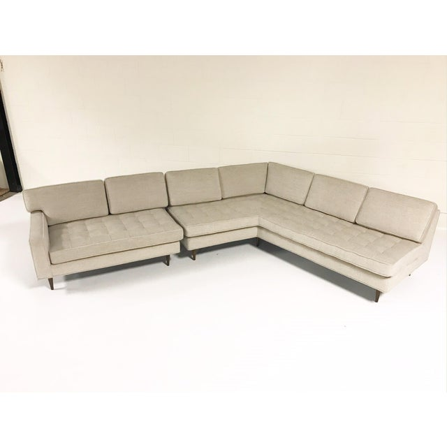 Vintage Mid-Century 2-Piece Sectional Sofa Restored in Gray Loro Piana Alpaca Wool For Sale - Image 4 of 13