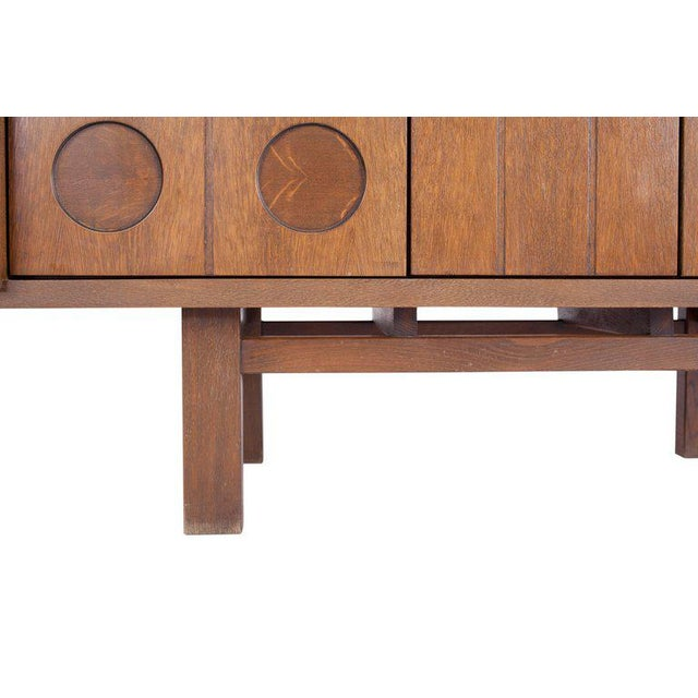 Oak Midcentury Belgian Brutalist Oak Cabinet For Sale - Image 7 of 9