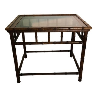 Vintage Chinoiserie Faux Bamboo Rectangular Wood Side Table For Sale