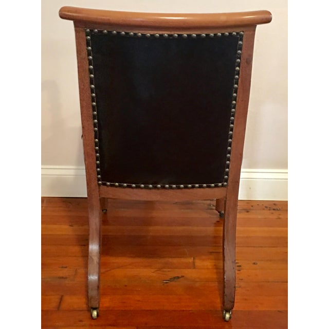Hollywood Regency **Final Price** Vintage Tufted Black Leather Arm Chair For Sale - Image 3 of 7
