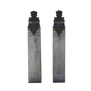 Chinese Pair Gray Black Color Stone Fengshui Pixiu Tall Slim Pole Statue For Sale