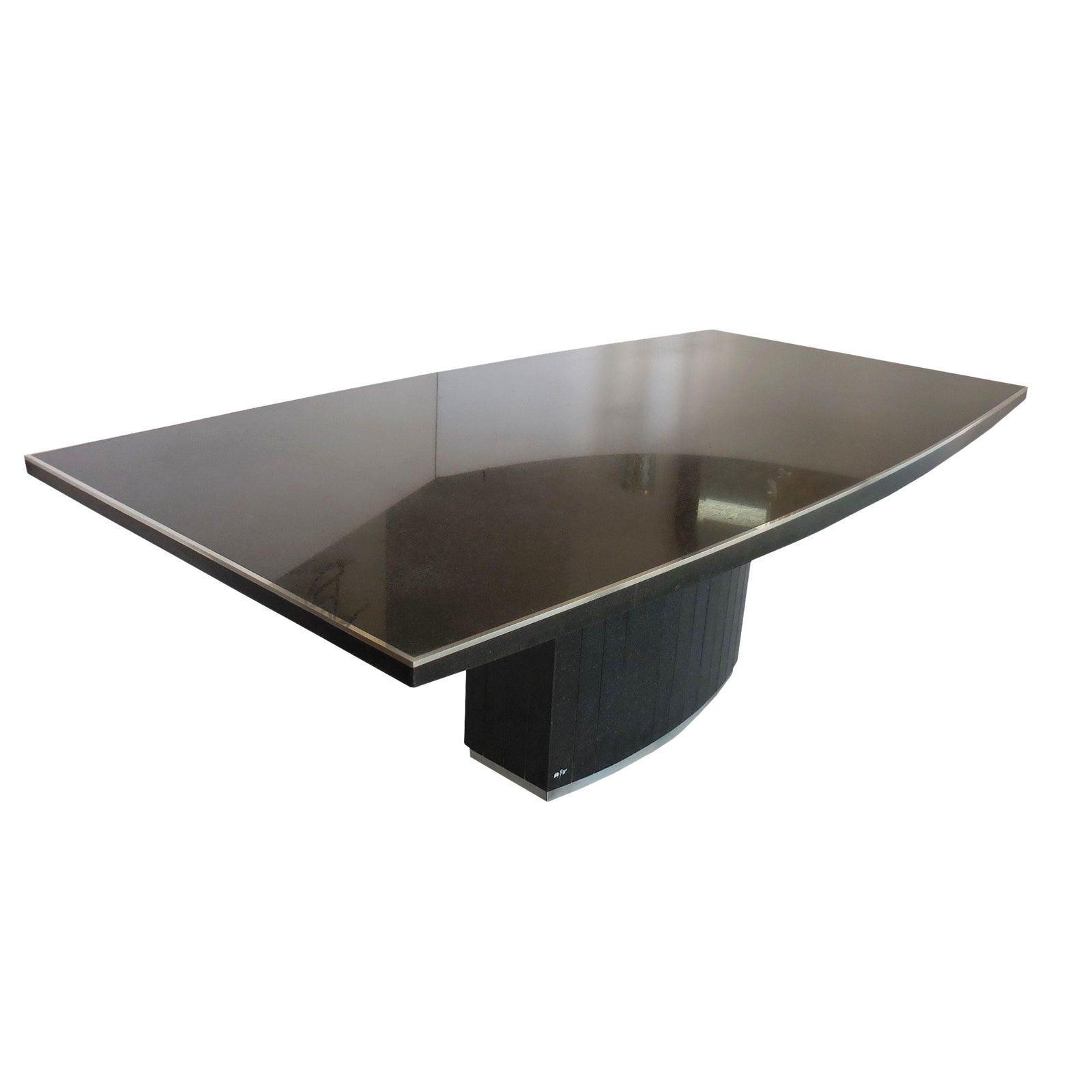 Exquisite Rare Black Granite And Stainless Steel Dining Table By