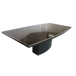 Rare Black Granite and Stainless Steel Dining Table by Willy Rizzo For Sale